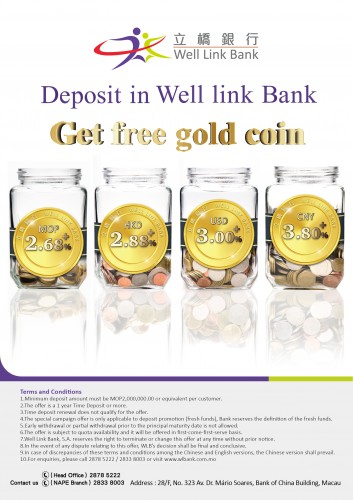 Deposit in Well Link Bank  Get Free Gold Coin